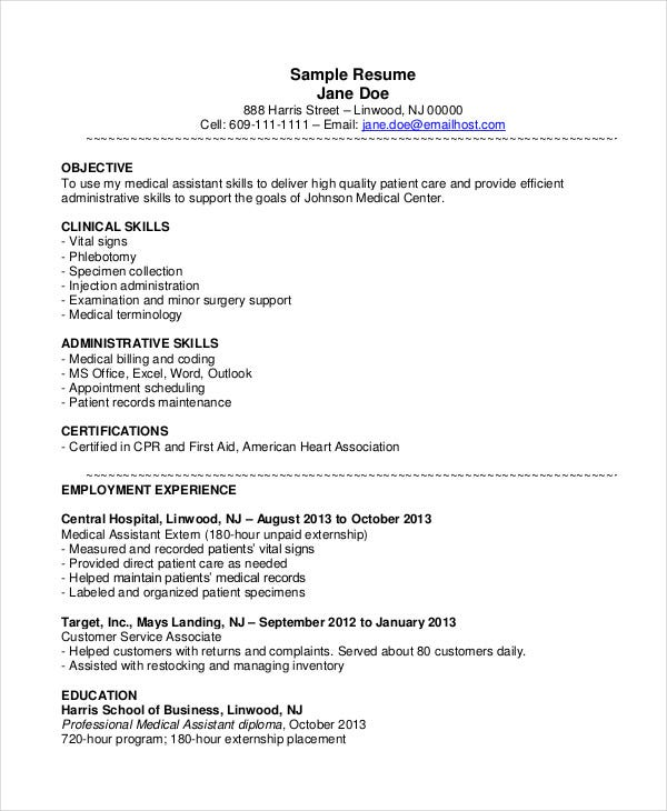 medical assistant resume templates pdf free premium good objectives for healthcare sample Resume Good Resume Objectives For Healthcare
