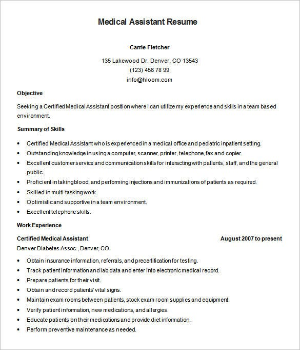 medical assistant resume templates pdf free premium good objectives for healthcare Resume Good Resume Objectives For Healthcare