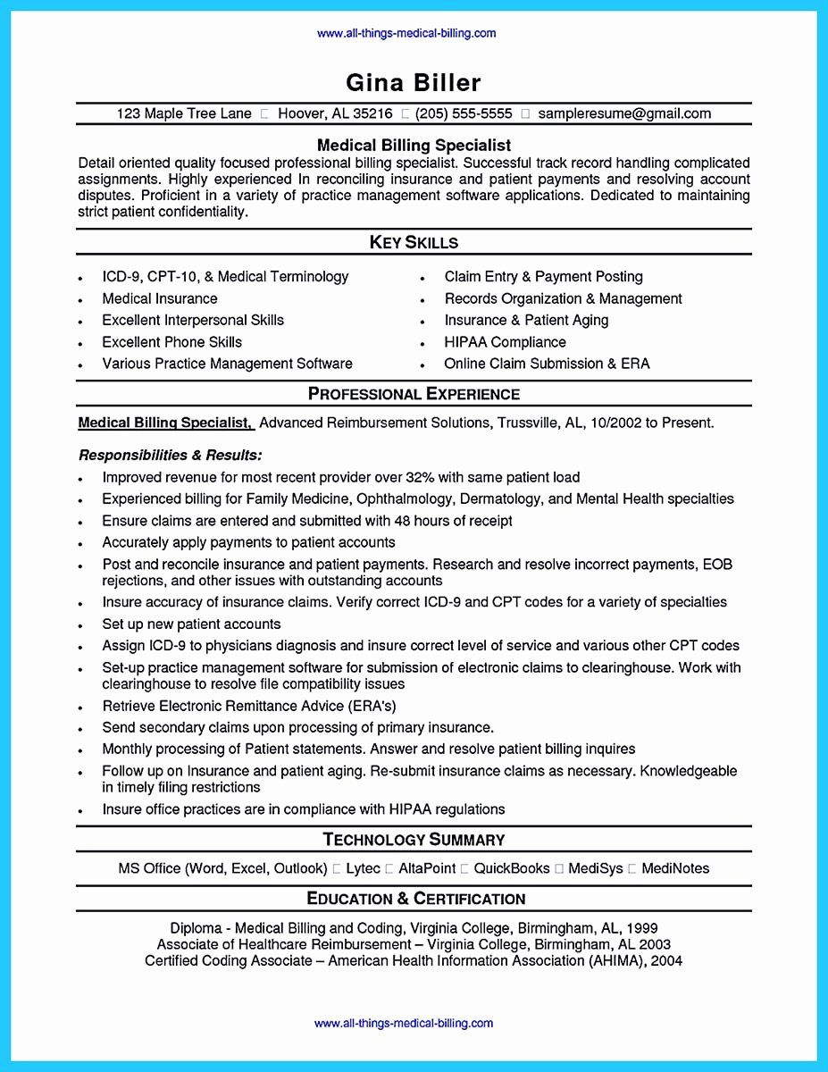 medical biller resume examples awesome exciting billing specialist that brings the job to Resume Sample Resume For Medical Billing And Coding Student