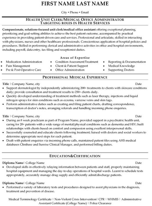 medical office administration resume sample template assistant professional health unit Resume Medical Office Assistant Resume