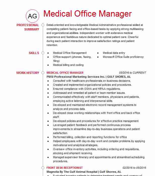 medical office manager resume example company name samples physical therapy template self Resume Medical Office Manager Resume Samples