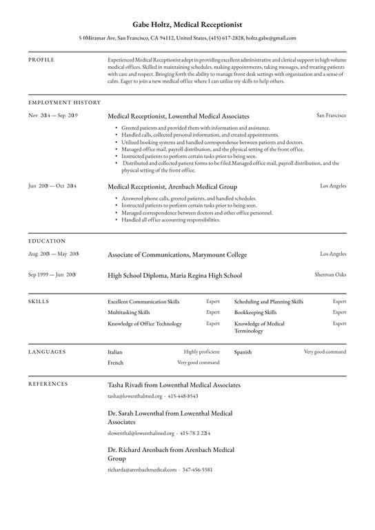 medical receptionist resume examples writing tips free guide front desk sample golf Resume Front Desk Receptionist Resume Sample