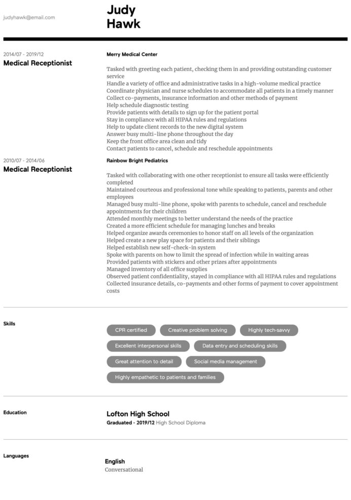 medical receptionist resume samples all experience levels duties intermediate lecturer Resume Receptionist Duties Resume