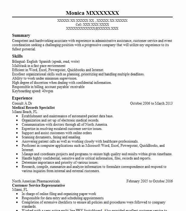 medical records specialist resume example livecareer clerk job description for passed Resume Medical Records Clerk Job Description For Resume