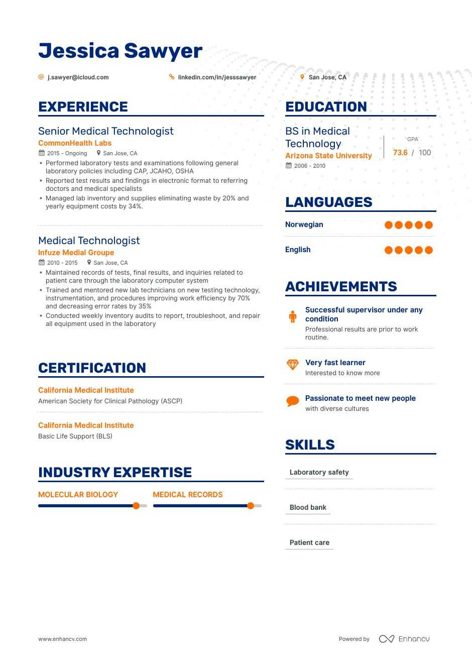 medical technologist resume guide examples templates laboratory generated special Resume Resume Templates Medical Laboratory Technologist