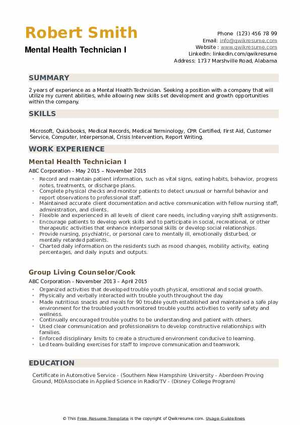 mental health technician resume samples qwikresume template pdf aml business analyst Resume Mental Health Resume Template