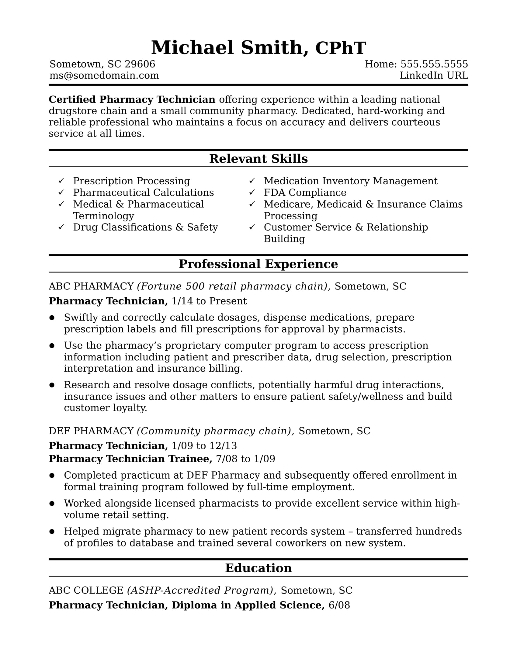 midlevel pharmacy technician resume sample monster senior template email for sending Resume Senior Technician Resume
