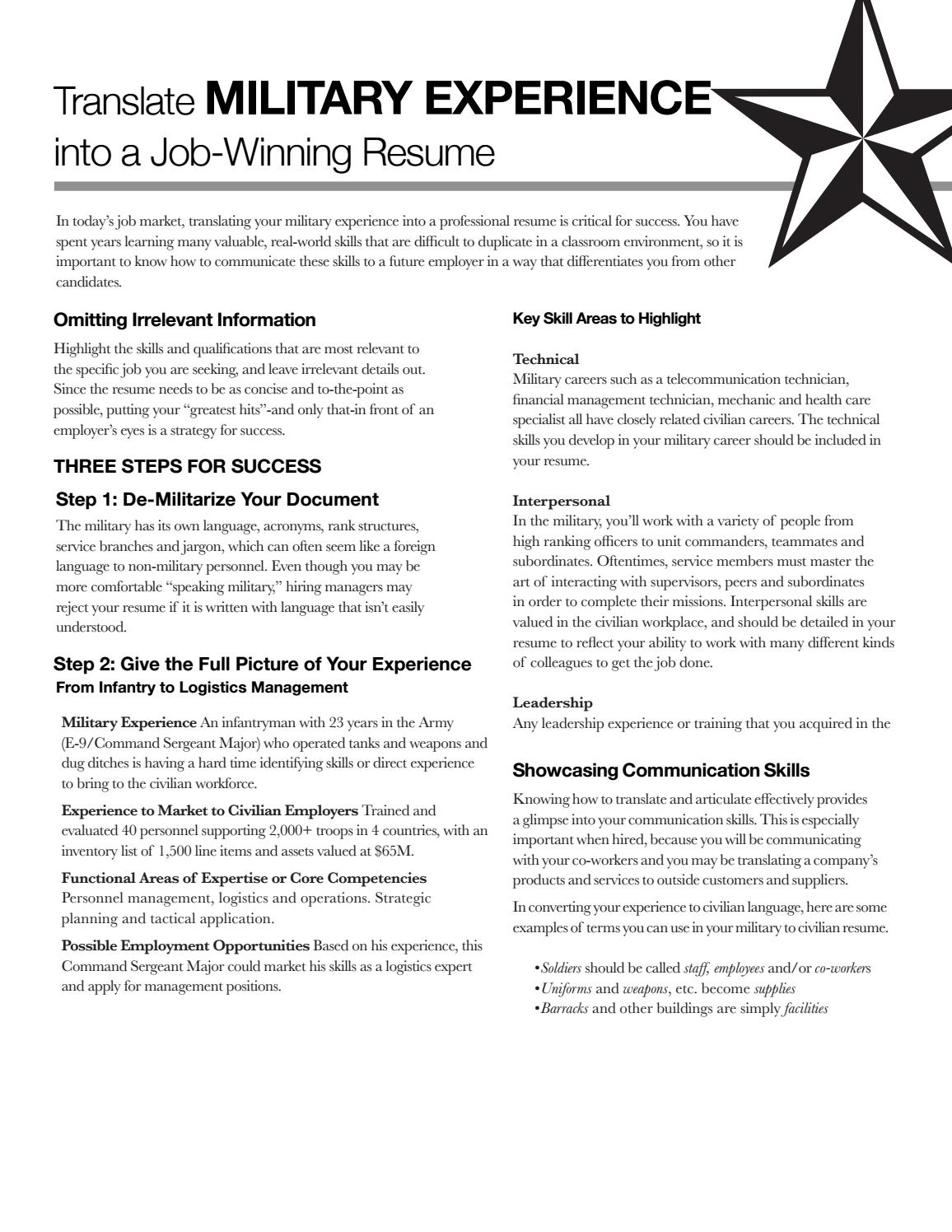 military experience by state university career services issuu resume for members Resume Resume For Military Members