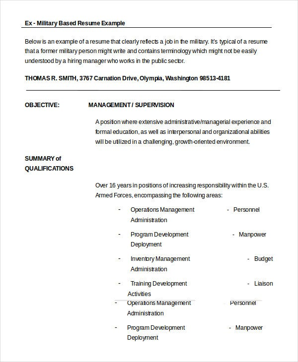 military resume free word pdf documents premium templates format for ex army creative Resume Resume For Military Members