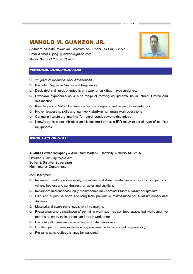 mm guanzon cv maintenance engineer resume writer direct fine dining waiter examples Resume Maintenance Engineer Resume