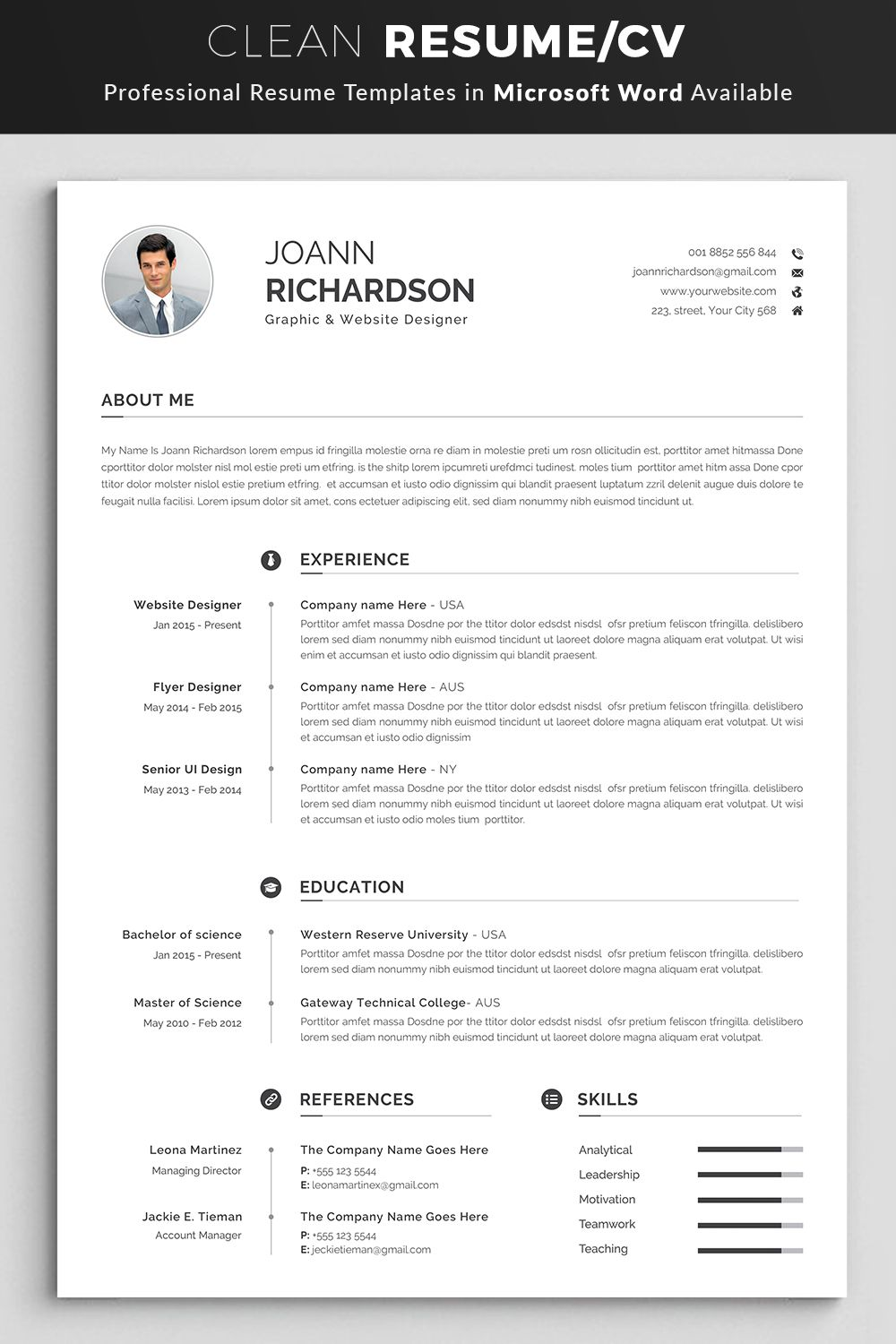 modern and creative resume template professional etsy word words make your look sample Resume Make Your Resume Look Professional