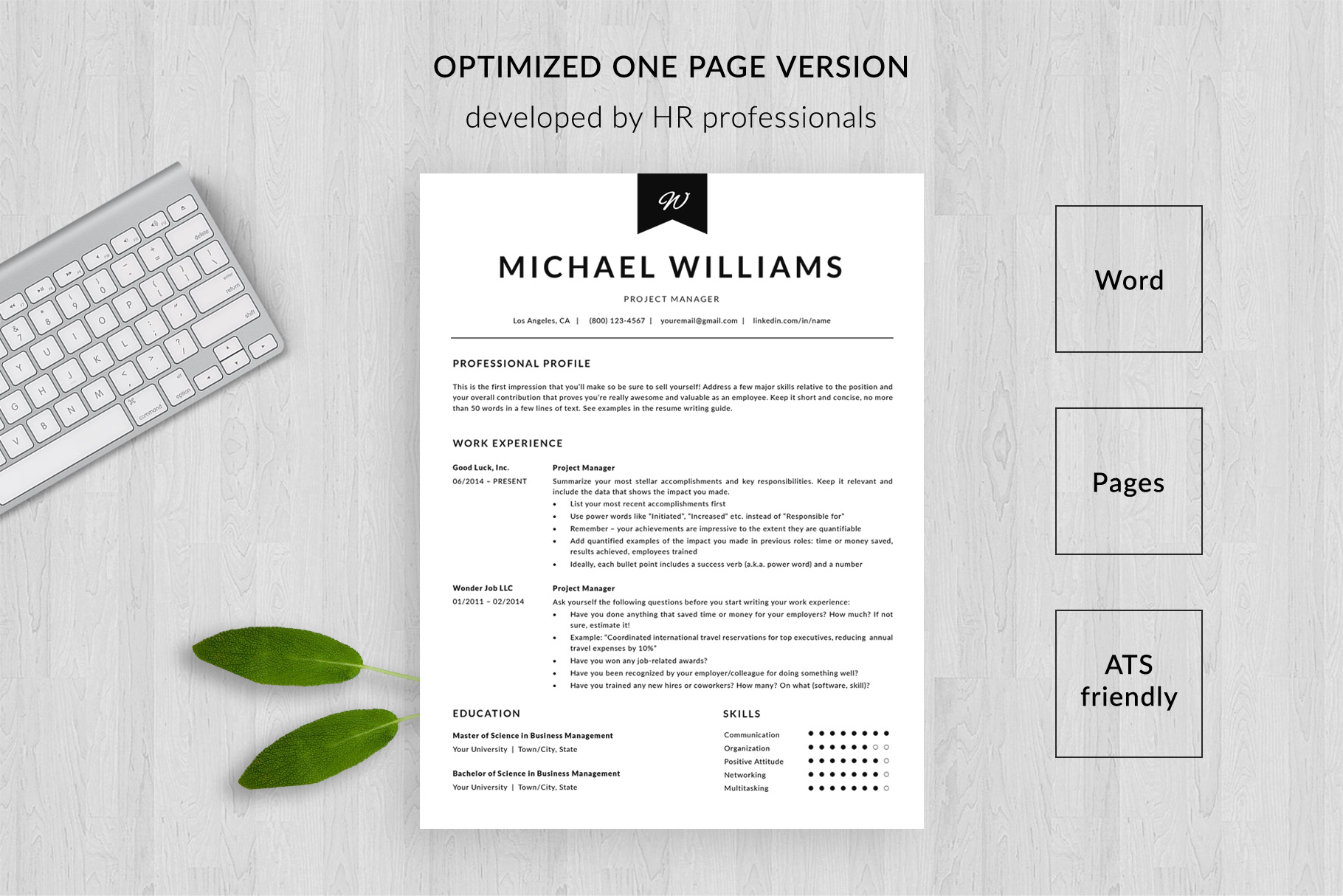 modern resume template and cover letter michael bonus free ats friendly templates one Resume Free Ats Friendly Resume Templates