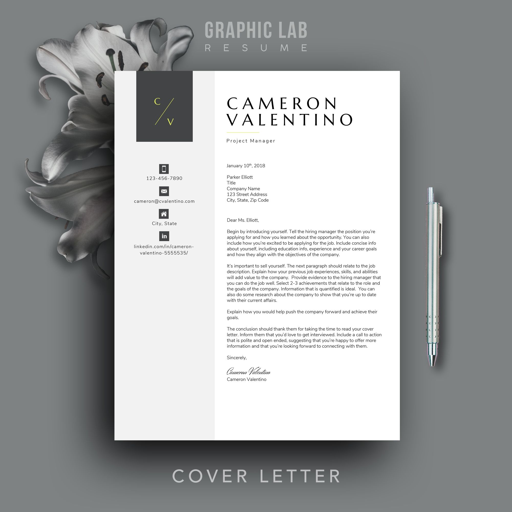 modern resume template cv design word etsy in contemporary calibri font for head line Resume Contemporary Modern Resume Template