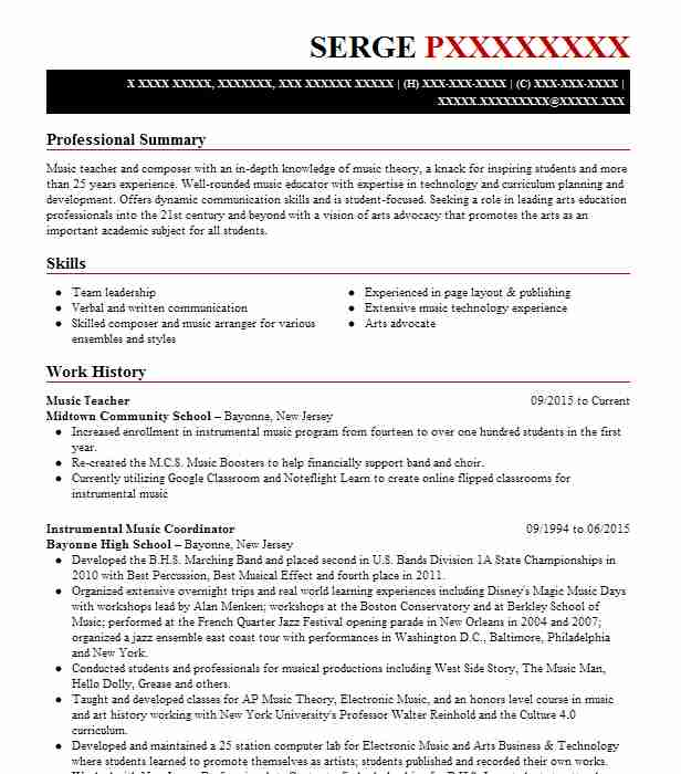 music teacher resume example carnatic vocal novato of zookeeper typography template Resume Resume Of A Music Teacher