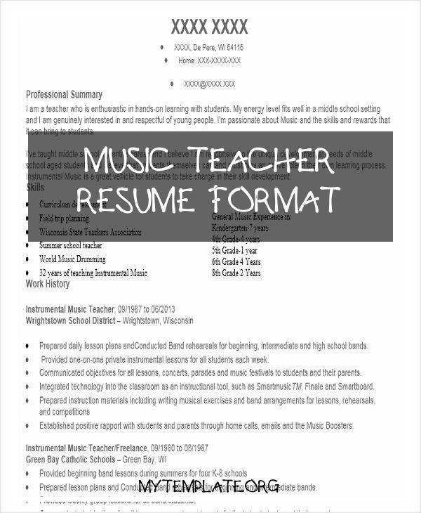 music teacher resume format free templates of examples unique formats pin team lead job Resume Resume Of A Music Teacher