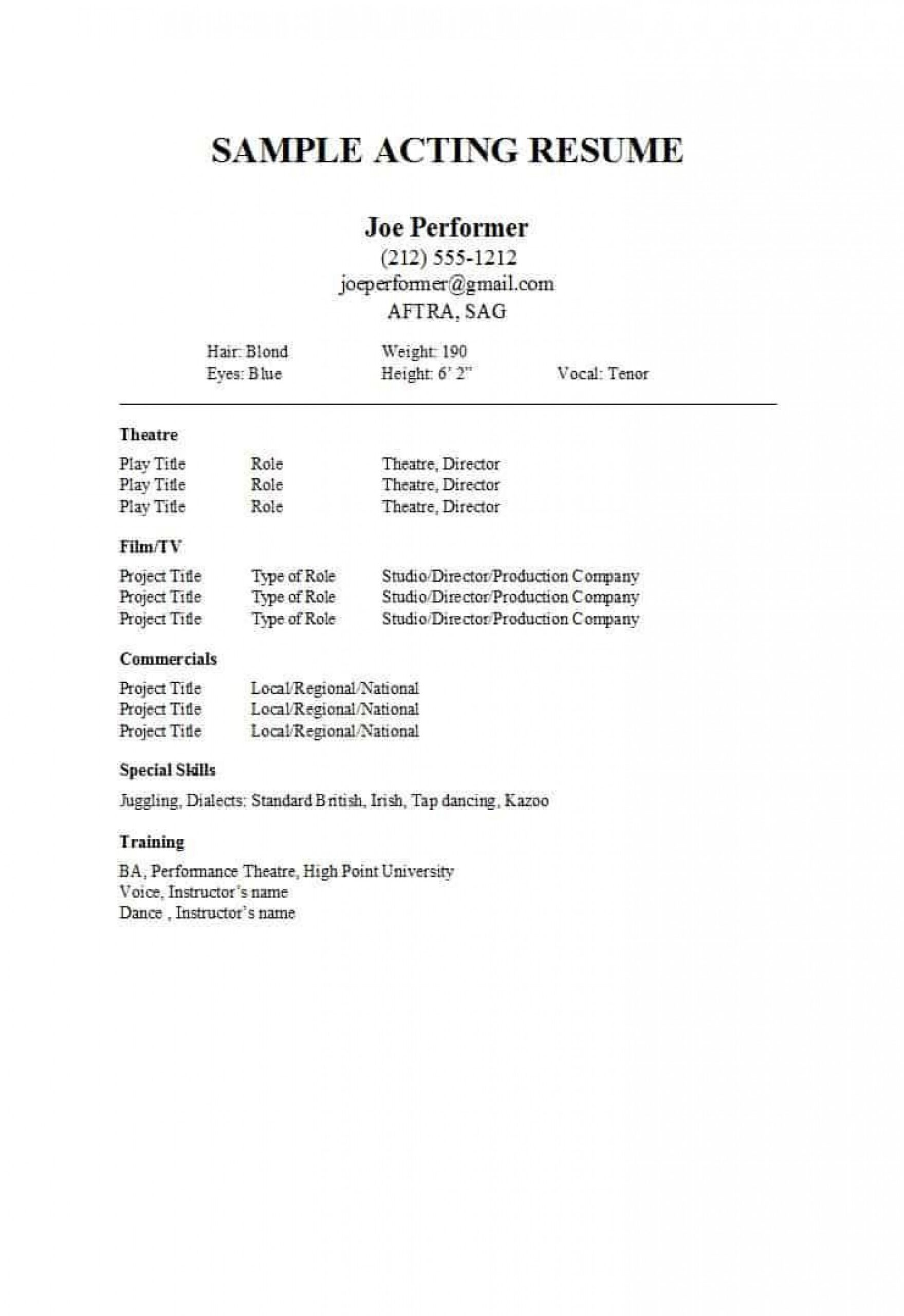 musical theatre resume template google docs addictionary professional acting incredible Resume Professional Acting Resume Template