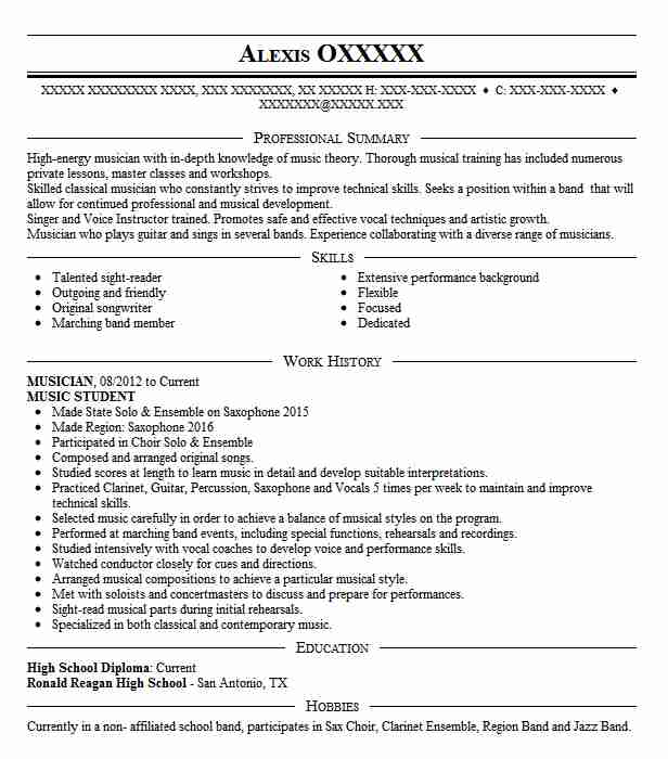 musician student resume example silver high school san jose music for college builder Resume Music Resume For High School Student