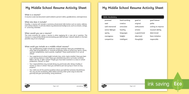 my middle school resume worksheet cv teacher made worksheets for students us2 activity Resume Resume Worksheets For Students