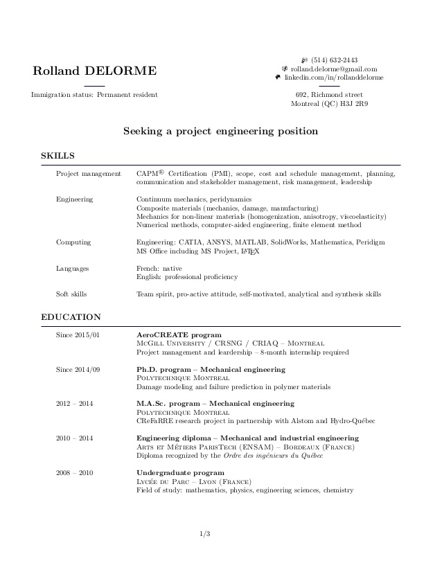 my resume rolland delorme immigration status objective for oil and gas galaxy basic set Resume Resume Immigration Status