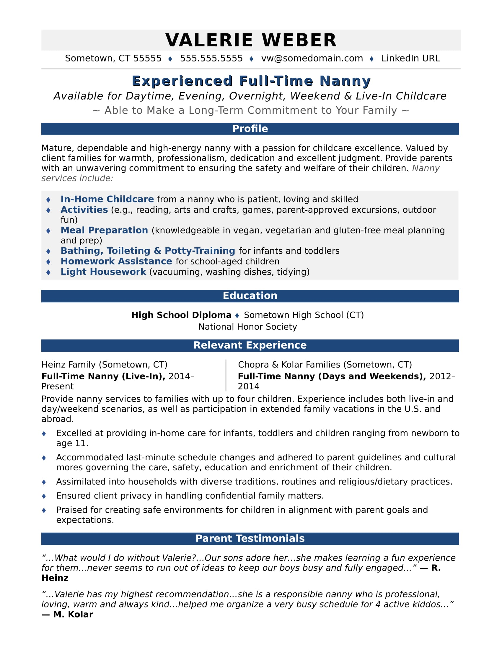 nanny resume sample monster free template for term employment mechanical calibration Resume Free Resume Template For Long Term Employment