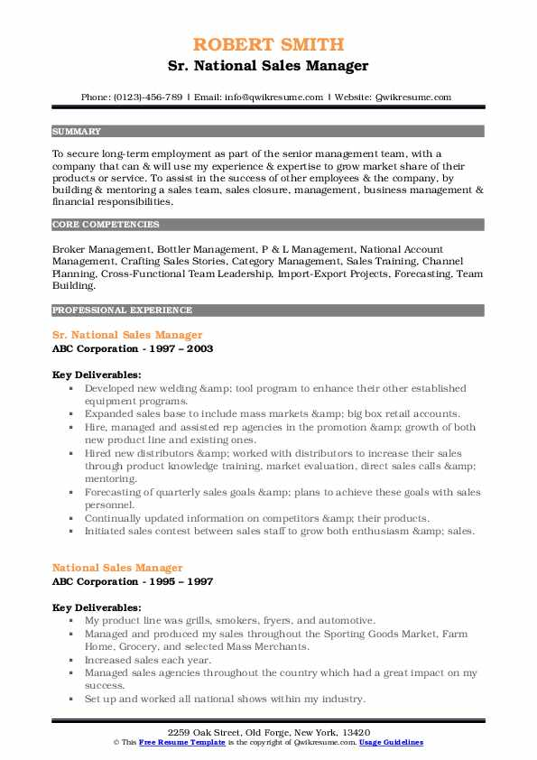national manager resume samples qwikresume template pdf architecture issuu business Resume Sales Manager Resume Template