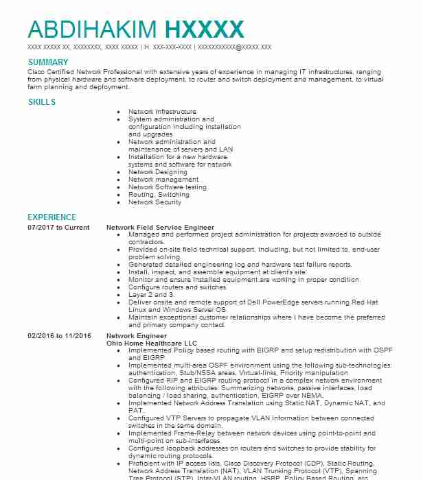 network field engineer resume example us cellular quality inspector control format Resume Network Field Engineer Resume