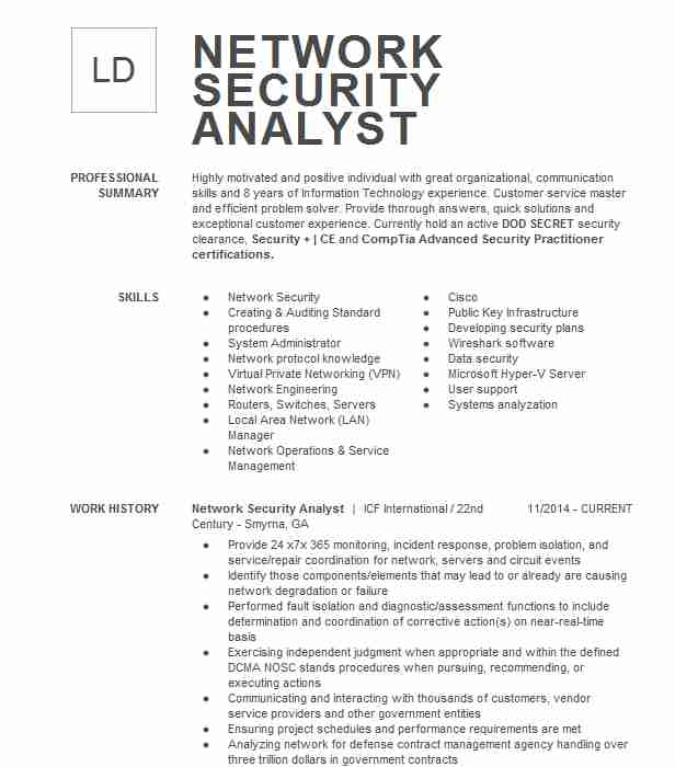 network security analyst resume example resumes livecareer cybersecurity sample skills Resume Cybersecurity Analyst Resume Sample