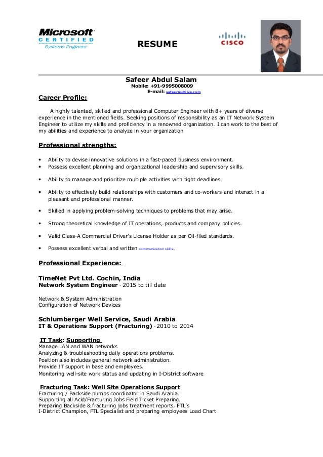 network system engineer resume field reverse chronological order teacher summary pest Resume Network Field Engineer Resume