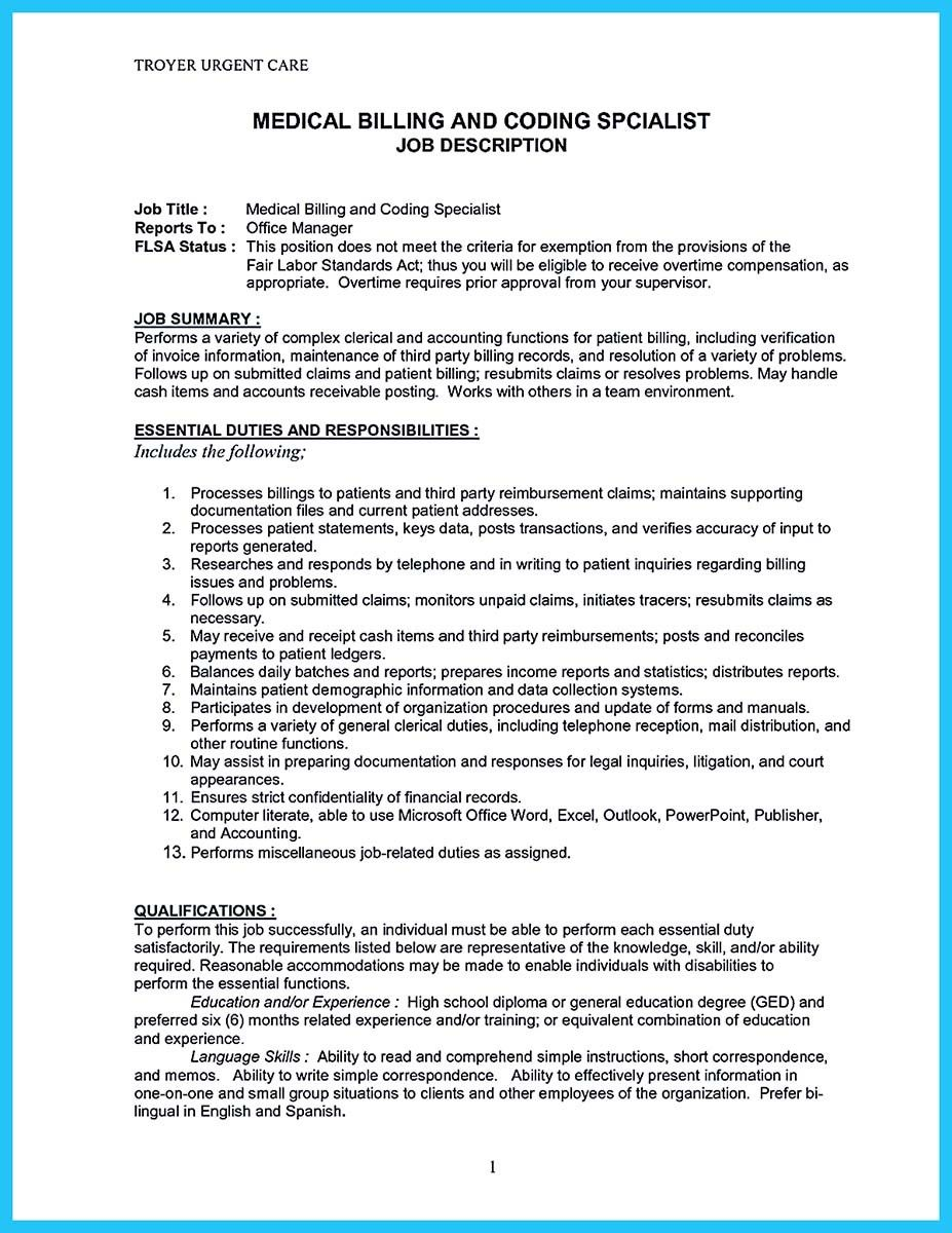 nice exciting billing specialist resume that brings the job to you medical coder and Resume Medical Billing Specialist Resume