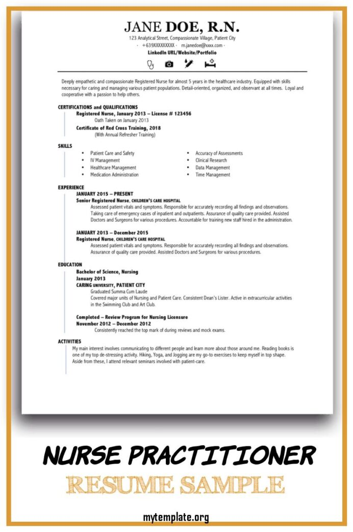 nurse practitioner resume sample free templates of pin for someone with little experience Resume Free Nurse Practitioner Resume Templates