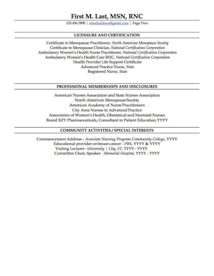 nurse practitioner resume sample professional examples topresume page2 construction Resume Sample Nurse Practitioner Resume