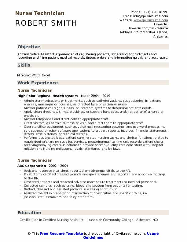 nurse technician resume samples qwikresume nursing goals and objectives for pdf excel on Resume Nursing Goals And Objectives For Resume
