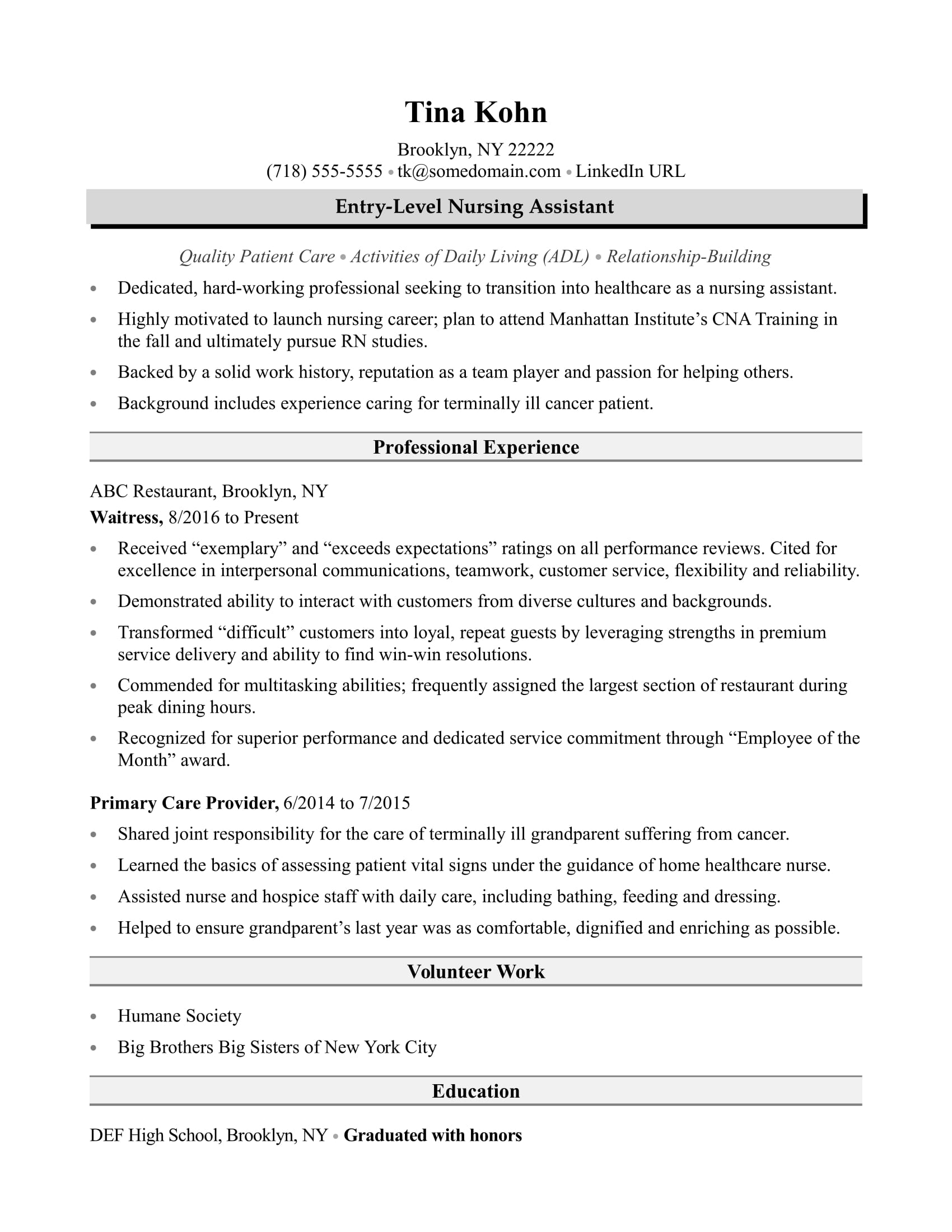 nursing assistant resume sample monster certified example friend perfect cna airline Resume Certified Nursing Assistant Resume Example