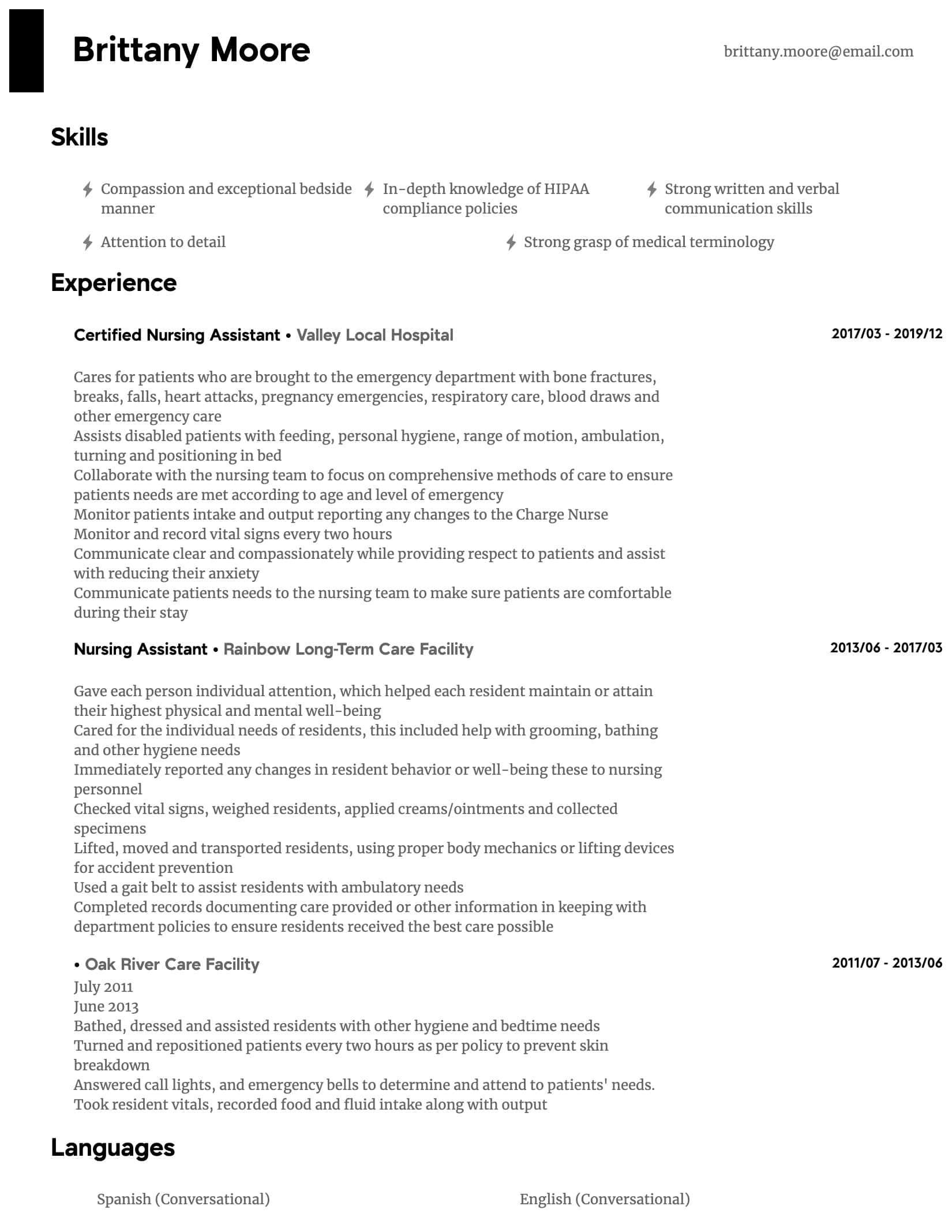 nursing assistant resume samples all experience levels skills intermediate hostess Resume Nursing Assistant Resume Skills