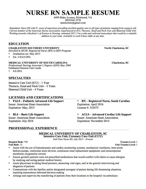 nursing resume sample writing guide genius template examples registered nurse experienced Resume Experienced Registered Nurse Resume