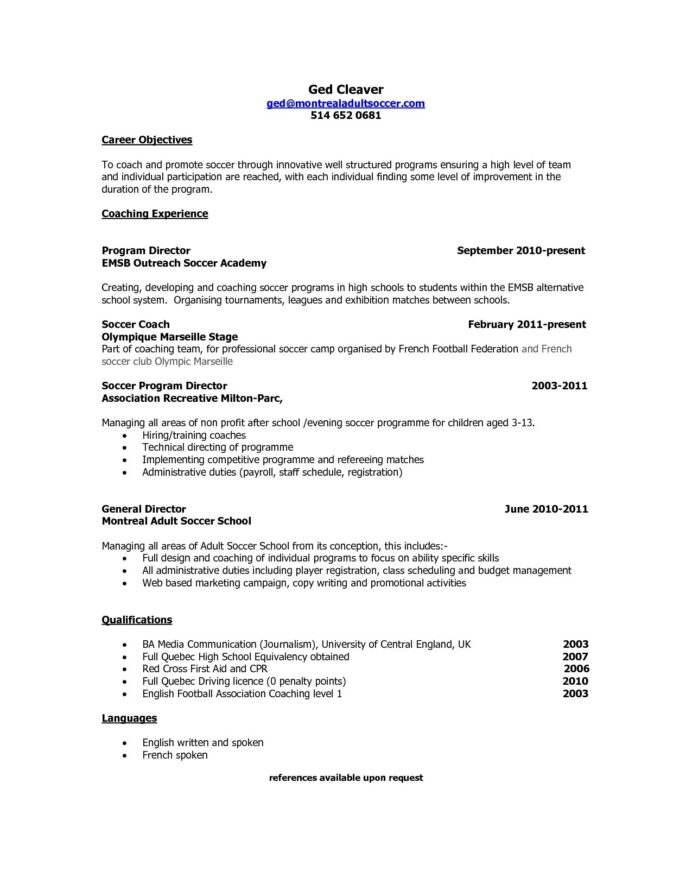 objective for coaching resume non chronological fast and easy builder music college Resume Objective For Coaching Resume