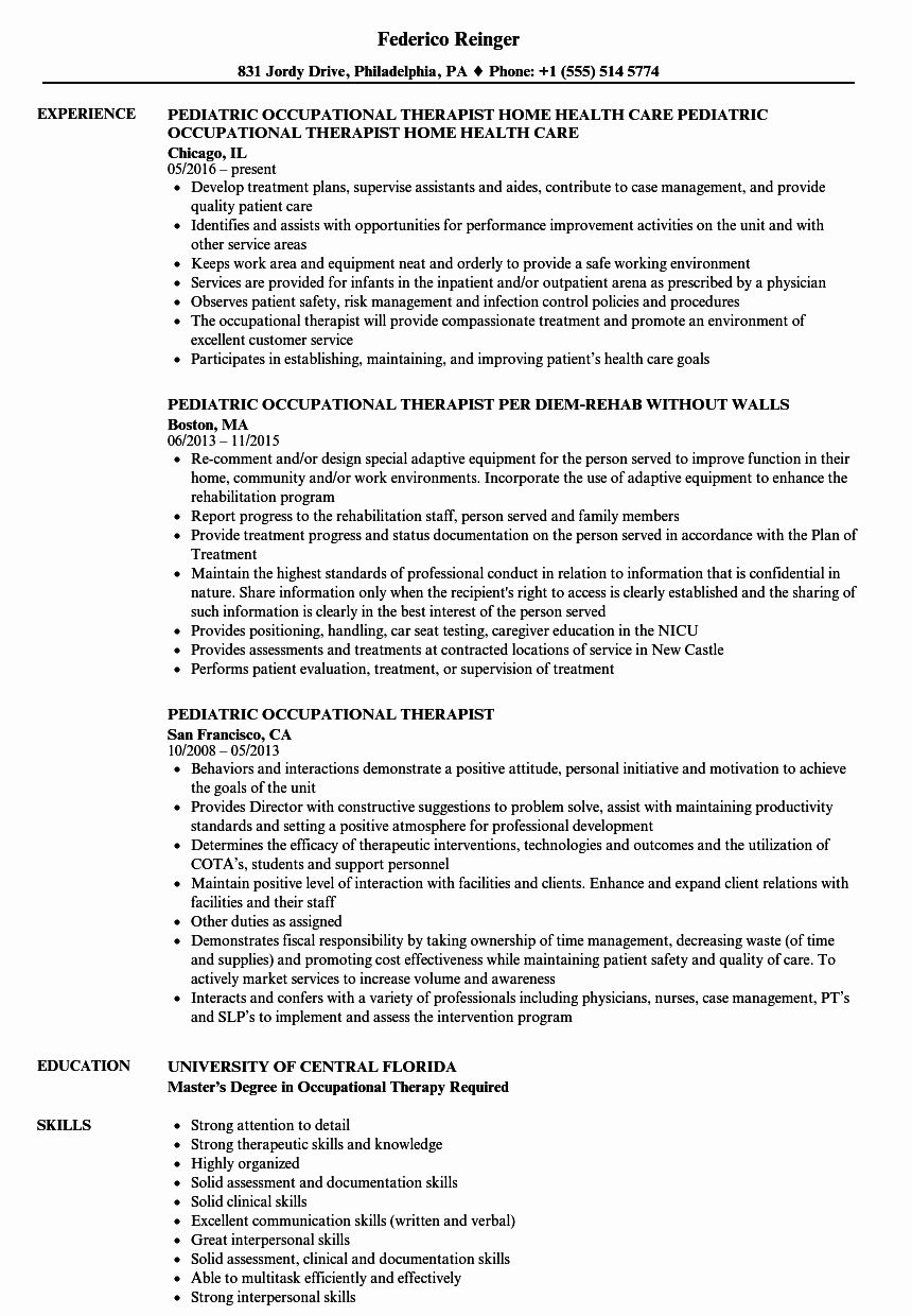 occupational therapy resume examples new pediatric therapist samples assistant entry Resume Entry Level Occupational Therapy Resume