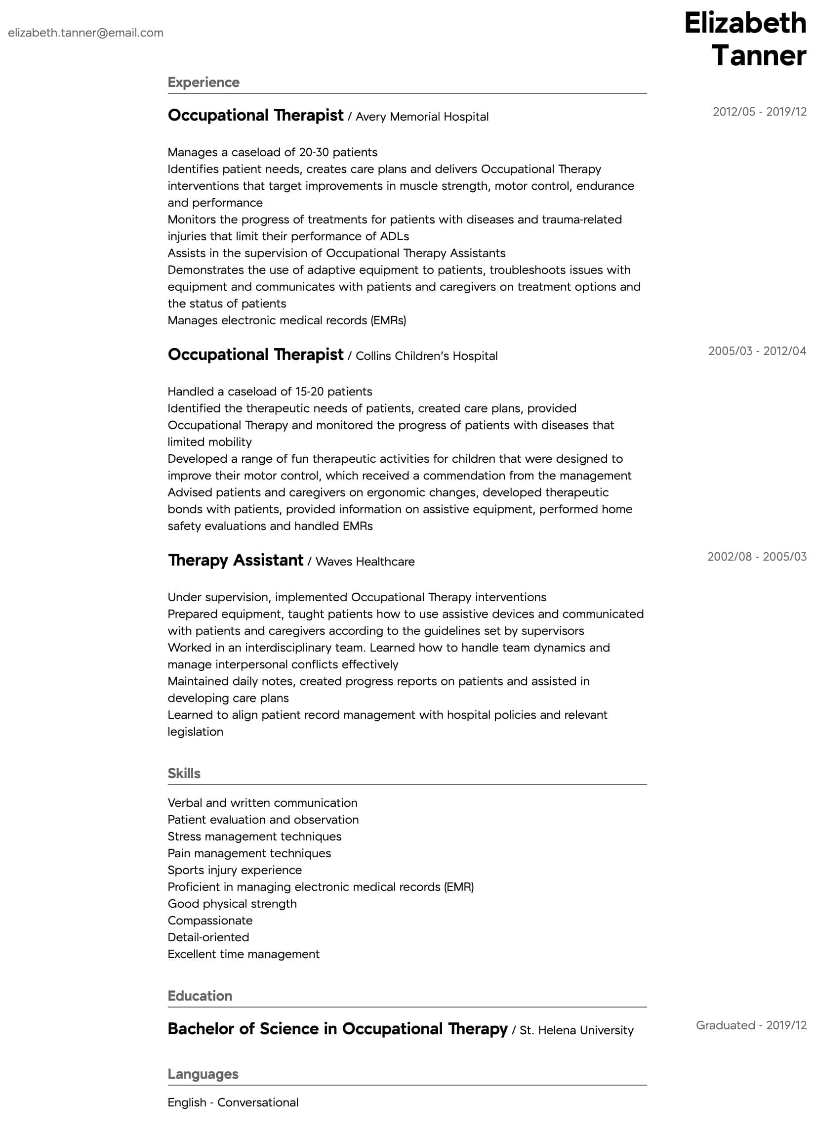 occupational therapy resume samples all experience levels entry level intermediate Resume Entry Level Occupational Therapy Resume