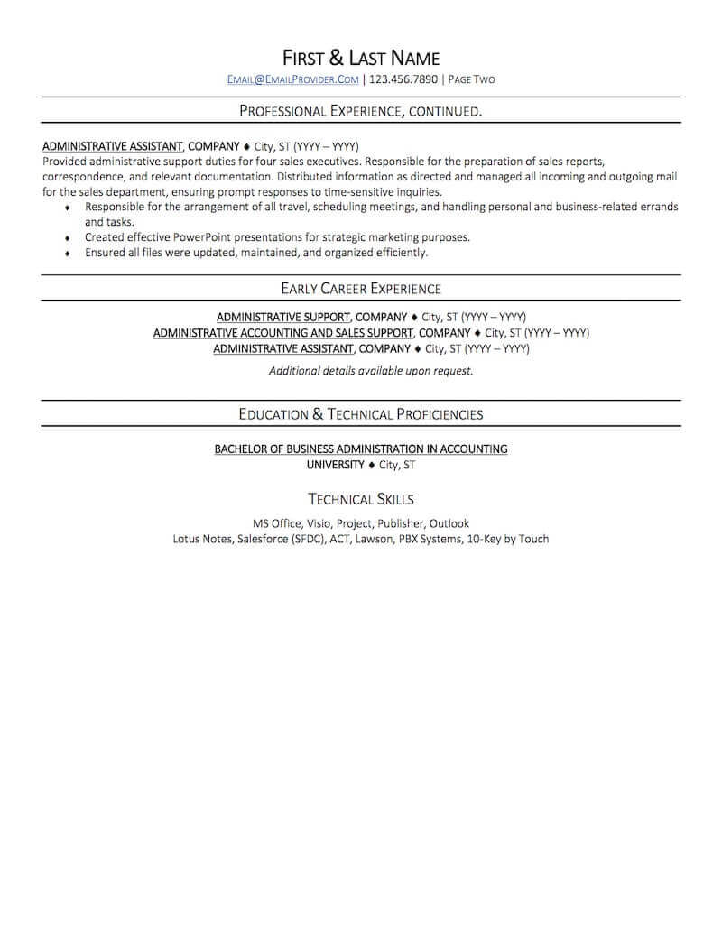 office administrative assistant resume sample professional examples topresume page2 entry Resume Professional Administrative Assistant Resume