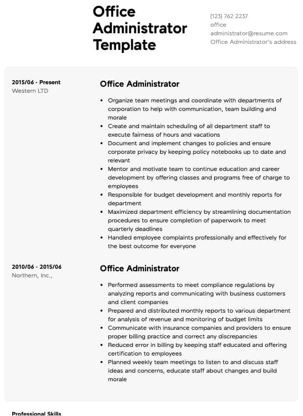 office administrator resume samples all experience levels skills for actor template word Resume Office Skills For Resume
