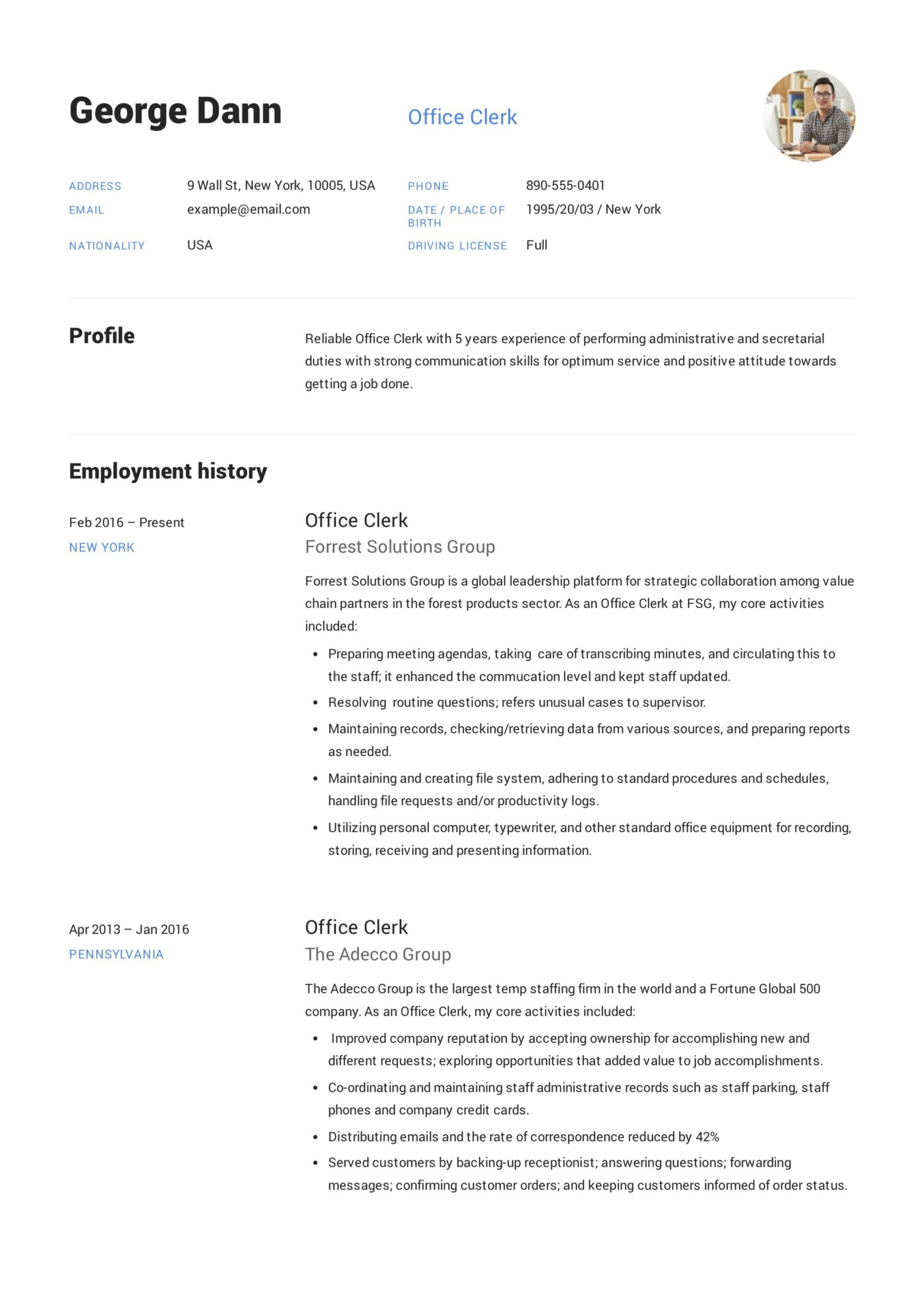 office clerk resume guide samples pdf clerical experience on insurance operations lead Resume Clerical Experience On Resume