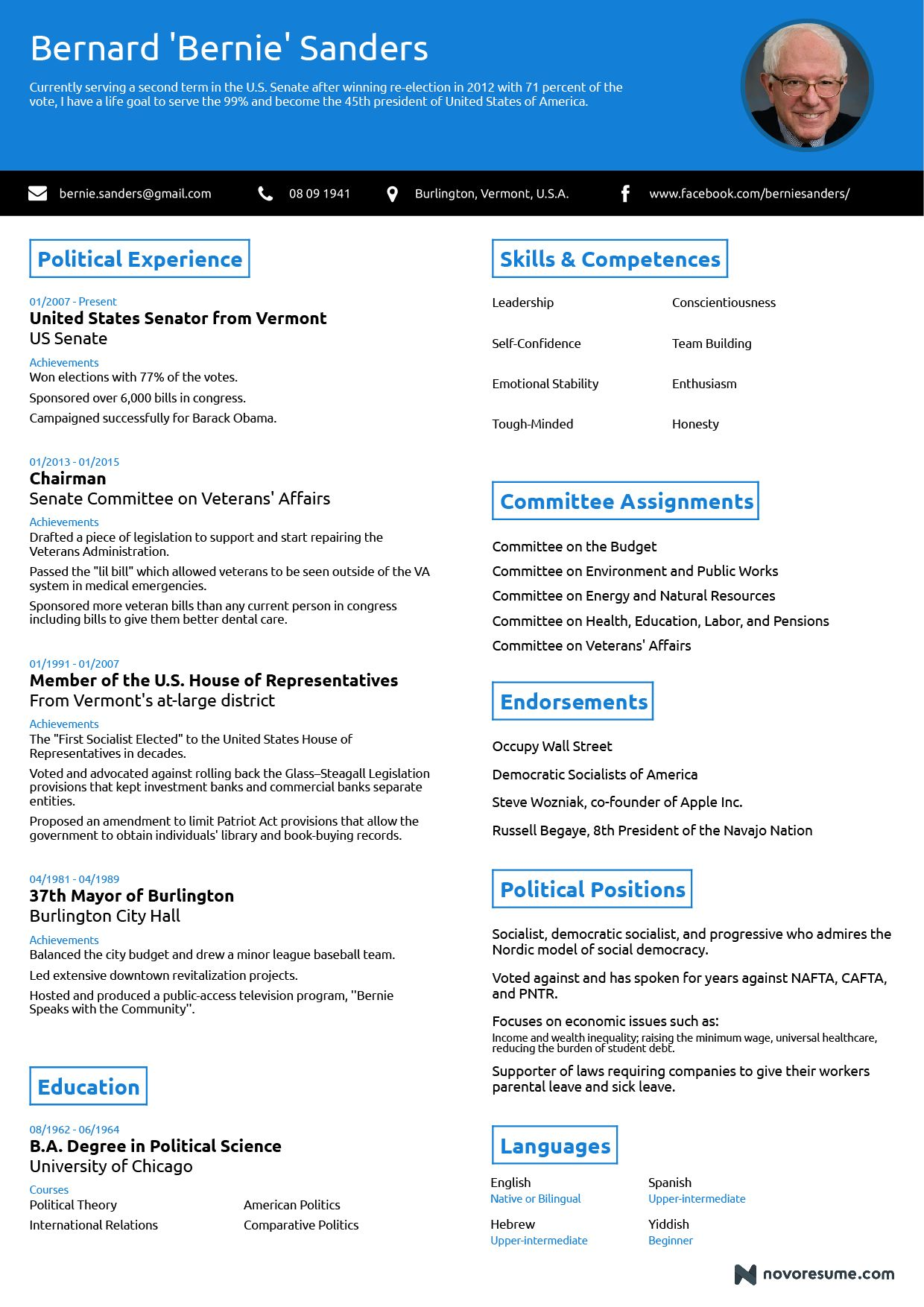 one professional résumé highlighting the competences of bernie create free resume Resume Resume More Than One Page