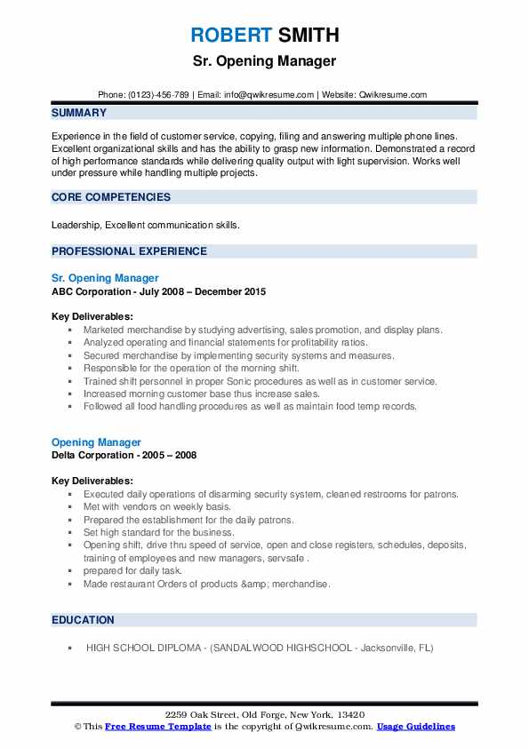 opening manager resume samples qwikresume statement on pdf another word for customer Resume Opening Statement On A Resume