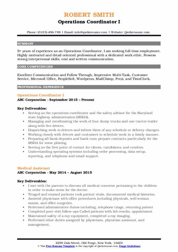 operations coordinator resume samples qwikresume pdf free search for employers student Resume Operations Coordinator Resume