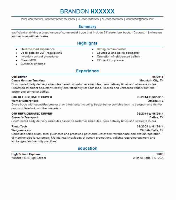 otr driver resume example resumes livecareer truck project management buzzwords for Resume Otr Truck Driver Resume