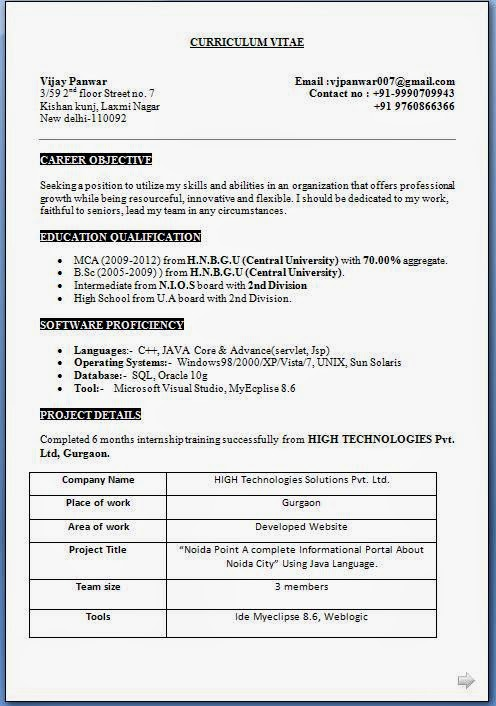 over cv and resume samples with free mca fresher sample popular format full documentation Resume Mca Fresher Resume Format Free Download