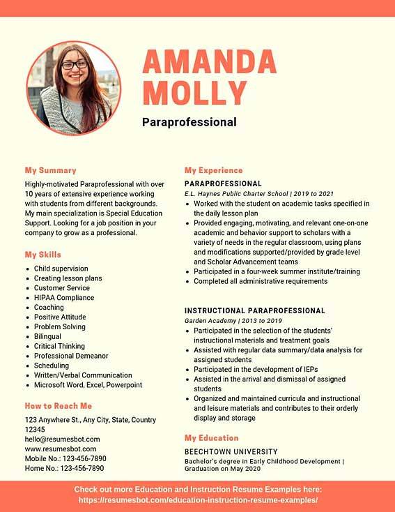 paraprofessional resume samples templates pdf resumes bot excellent examples example free Resume Job Resume Examples 2020