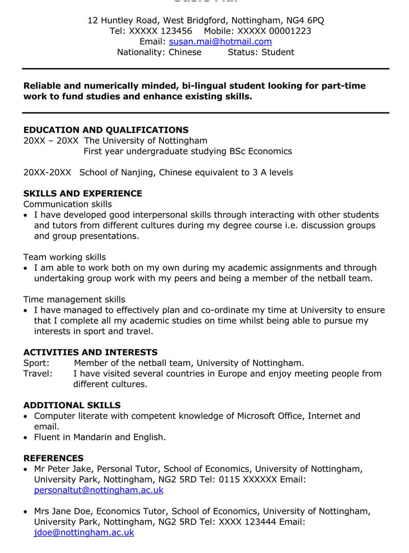 part time job cover letter sample letters examples resume for college student without Resume Resume For Part Time Job College Student