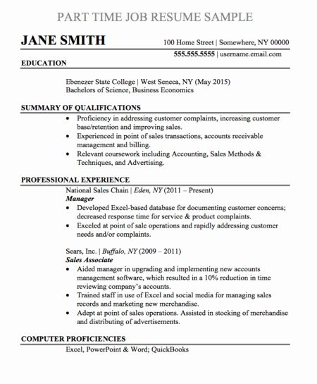 part time job resume best of samples and templates examples template biodata sample Resume Part Time Job Resume Template