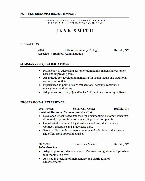 part time job resume unique basic resumes examples for students template administrative Resume Part Time Job Resume Template